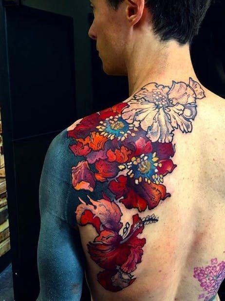 Floral Work In Progress Floral Botanical Poppy Hibiscus Workinprogress Tattooartist Femaletattooartist B Tattoos Chest Tattoo Female Upper Cover Tattoo