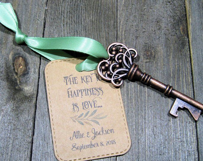 Rustic Key Bottle Opener Wedding Favor Set Of 10