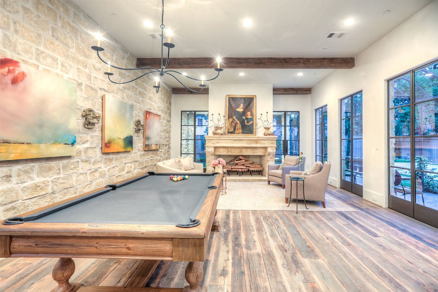 Game Room With Pool Table Stone Accent Wall Wood Floors Wood Beams Tracy Design Studio 2 Luxesource House And Home Magazine Provence Style Design