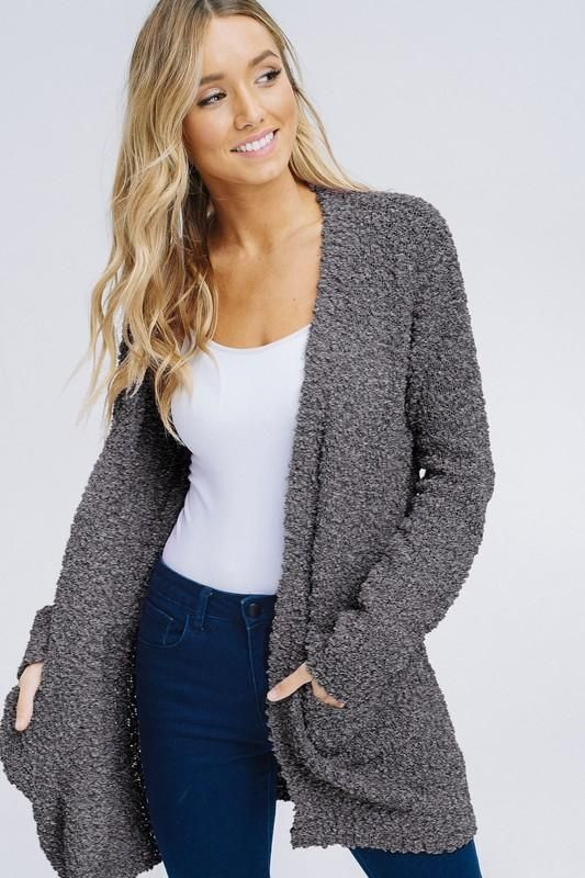 6115ebf69d0 Charcoal Grey Plush Popcorn Cardigan Sweater from Divine Couture Boutique