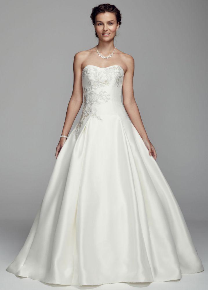 Oleg Cassini Mikado and Lace Wedding Dress - Ivory, 2