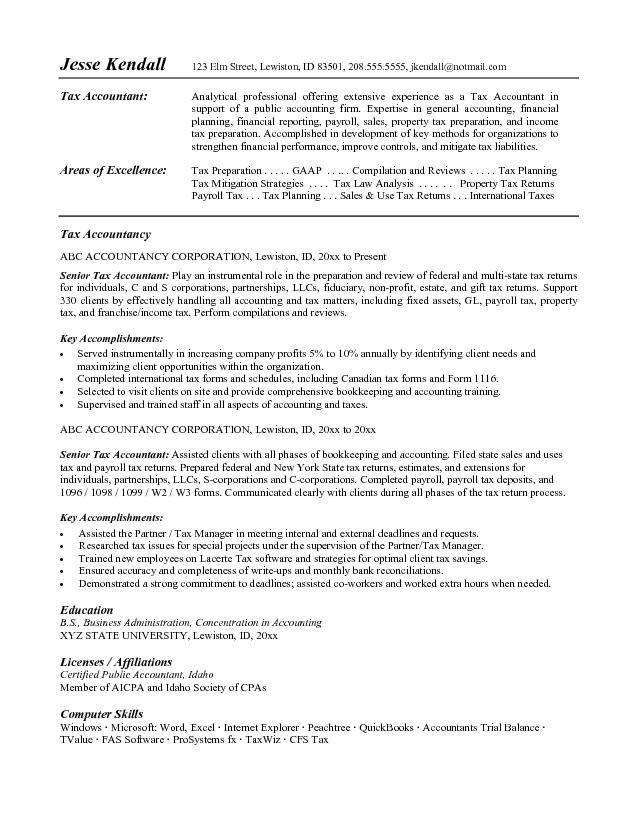 Functional Resume Tax Preparer Results - http\/\/wwwresumecareer - accounting resume objective