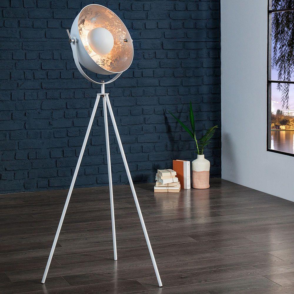 Design Stehlampe STUDIO 140 cm weiss silber Lampe Blattsilber Optik ...