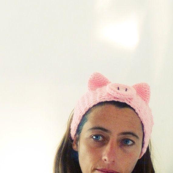 Headband Crochet Pattern PDF - head wrap animal ears Piggy - baby ...