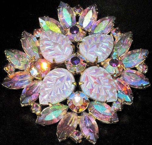 Gorgeous Molded Glass Leaves Aurora Borealis Rhinestone Vintage Pin | eBay