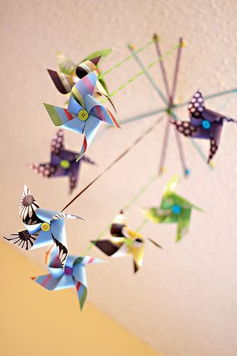 How To Tuesday: Paper Pinwheel Mobile   Diy pinwheel ...