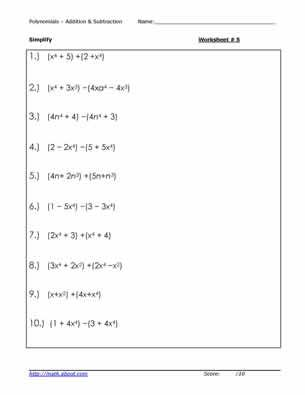 5 Adding and Subtracting Polynomial Worksheets Worksheets