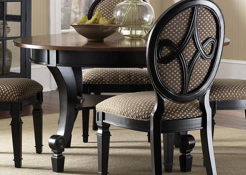 Diy Upholstered Furniture | Black Wood Round Dining Room Tables Upholstered  Chairs