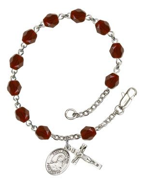 St. Benjamin Silver-Plated Rosary Bracelet with 6mm Garnet Fire Polished beads
