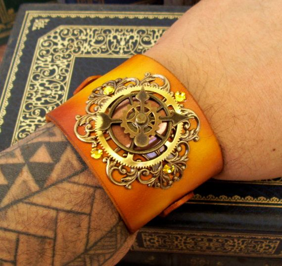 Steampunk Leather Bracelet C45  Time Travel by DesignsByFriston, $48.00