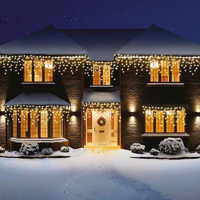 Premier Christmas 960 Warm White Supabright Led Snowing Icicles Xmas Lights Christmas L Luces De Navidad Exteriores Luces Navidad Decoracion Luces De Navidad
