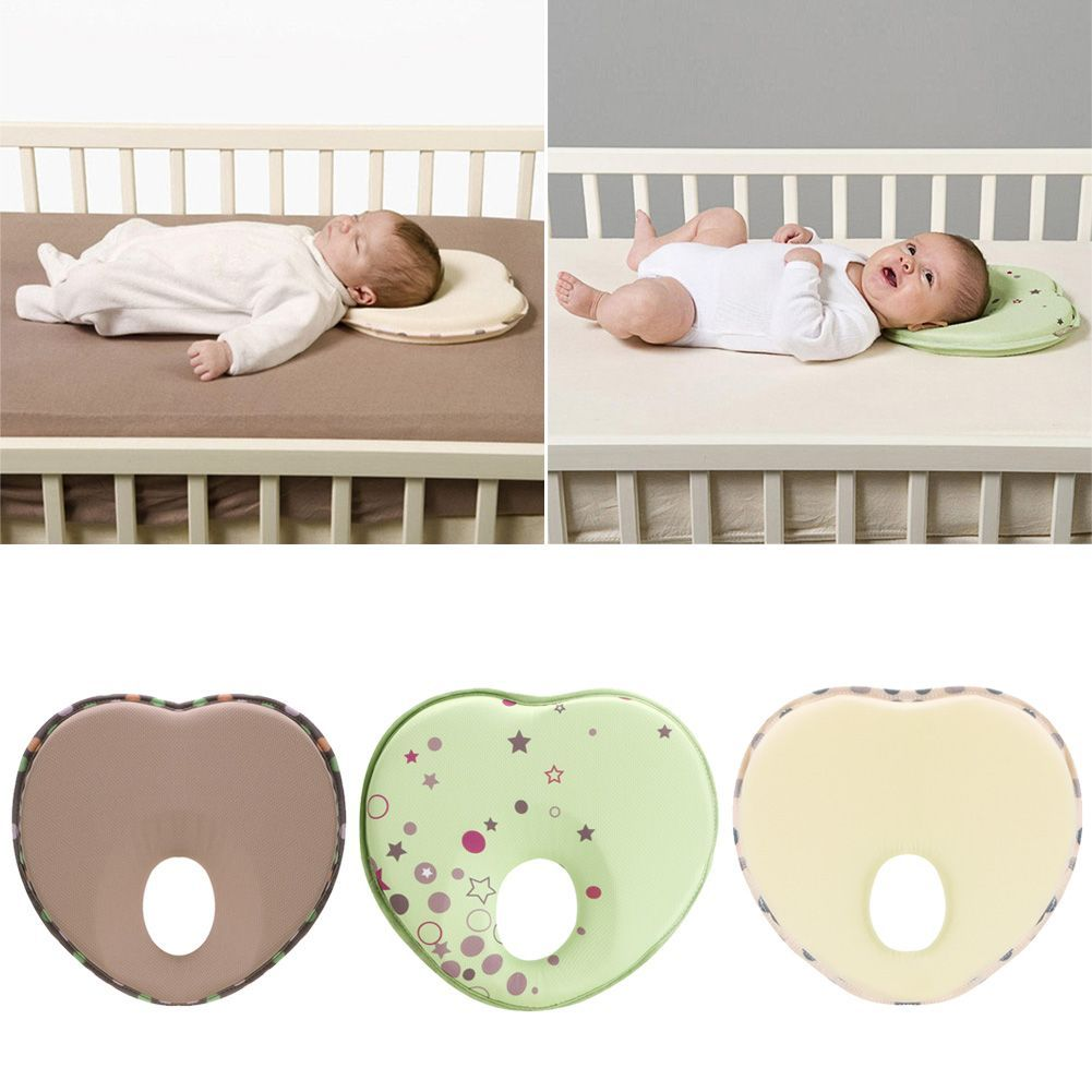 Heart Shape Pillow For Newborn Baby Head Protection Anti Roll Cushion Flat Cotton Head Pillow Children S Cushion Linen In 2020 Childrens Cushions Baby Pillows Baby Bed