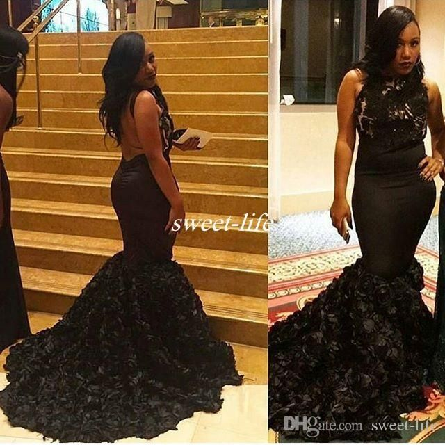 Hot Sale Black Mermaid Prom Dresses with Rose Gold Flowers Backless ...