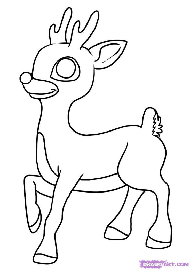 How To Draw Rudolph The Red Nosed Reindeer Step