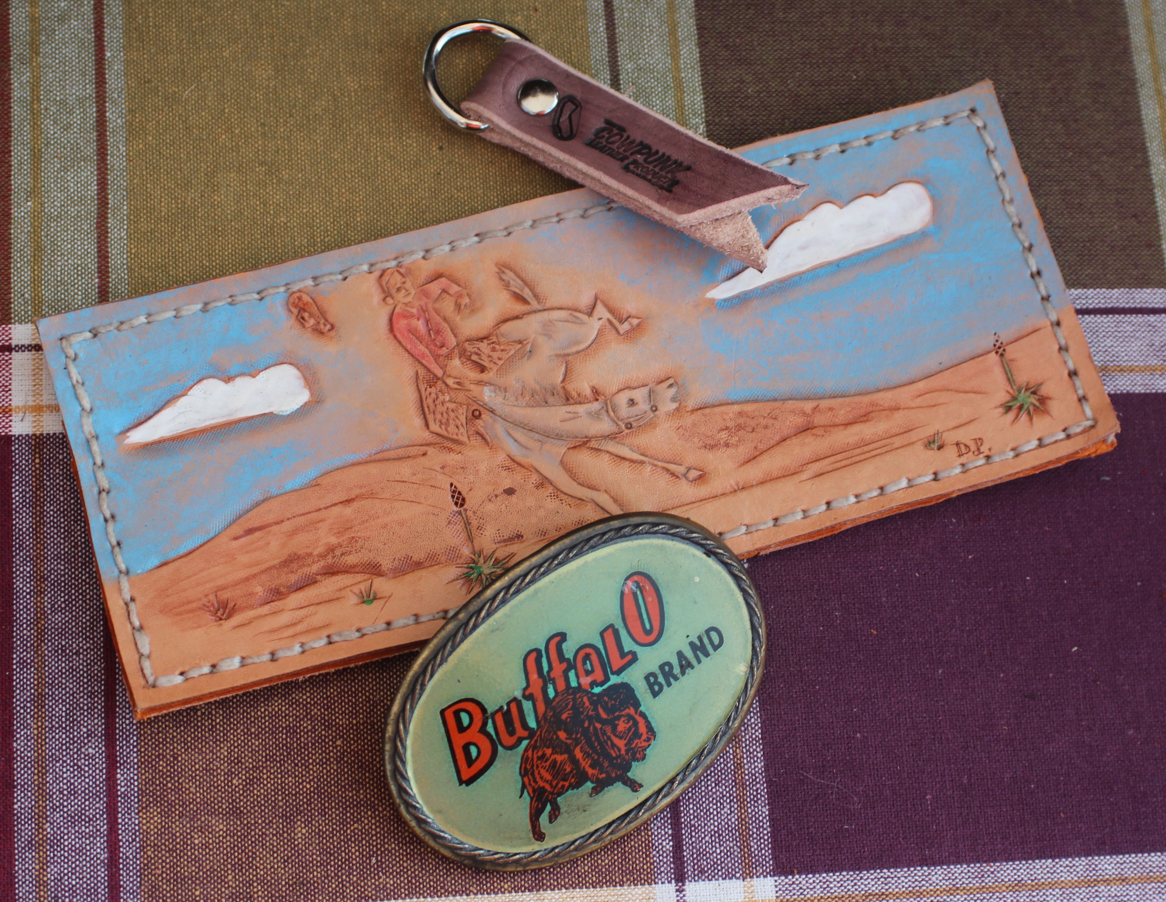 Custom Hand Tooled Bucking Horse Wallet and Vintage Buffalo Brand Belt Buckle.  CowPunk Leather Products