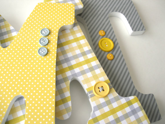 Childrens Room Decor - Yellow and Gray Grey - Custom Wood Letters ...