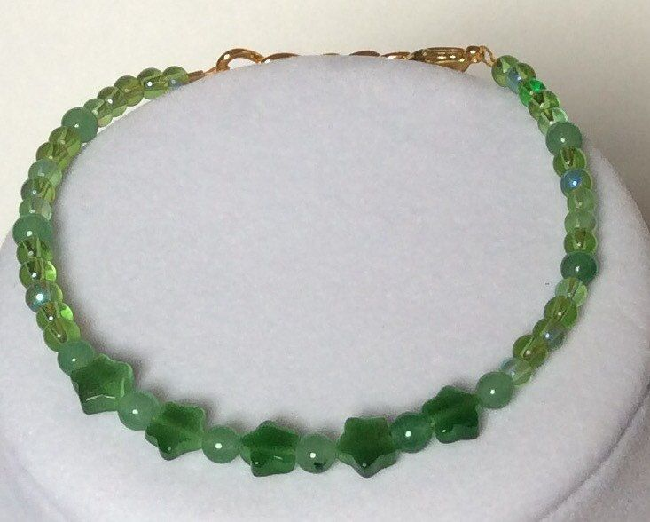 Green Aventurine, Glass, Star Shaped Cats Eye Beaded Adjustable Bracelet- Gold, Stacker Bracelet, Stacking Bracelet, Friendship Bracelet by CreationsByLacieK on Etsy