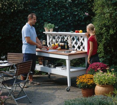 A diy moveable outdoor kitchen bench