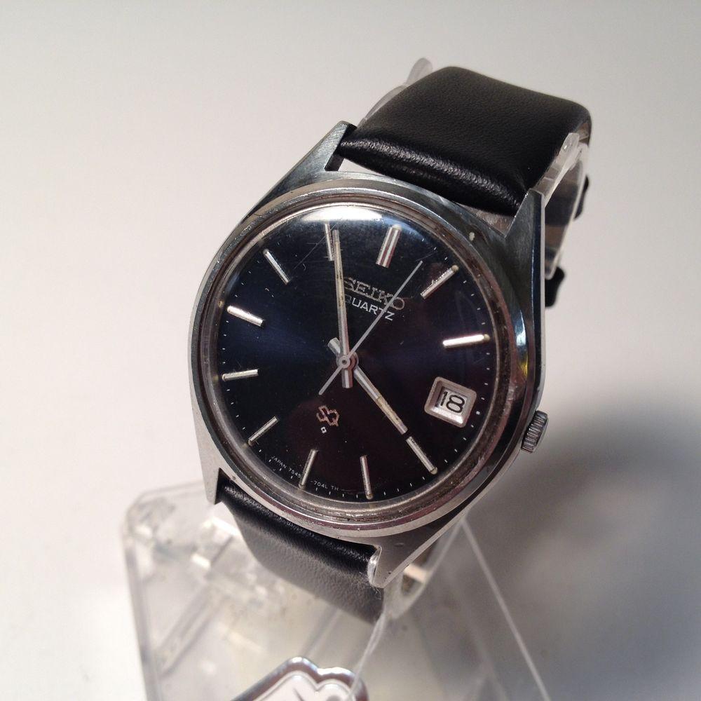 Stunning Vintage SEIKO Mens LEATHER Quartz Watch Hour
