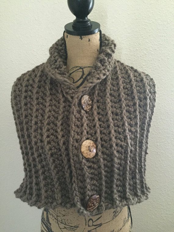 Chunky Crocheted Scarf with Buttons Chunky Scarf, Button Scarf ...