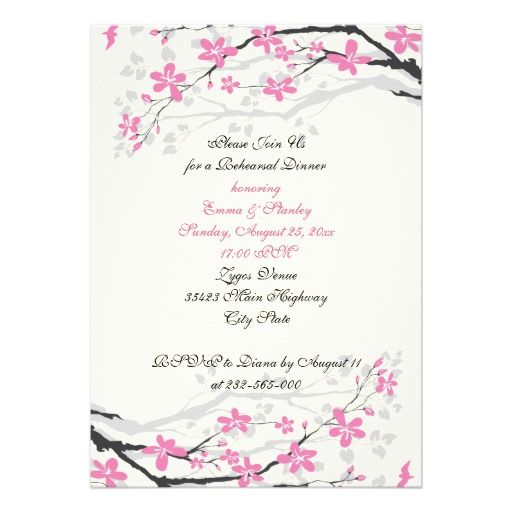 Branch with pink blossoms wedding rehearsal dinner cards