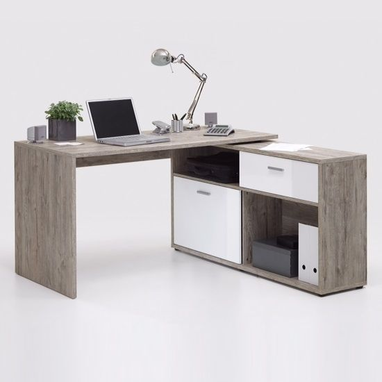 Mattia Corner Computer Desk In Sand Oak And White High Gloss Furniture In Fashion Furniture Computer Desk Corner Computer Desk Home Office Furniture