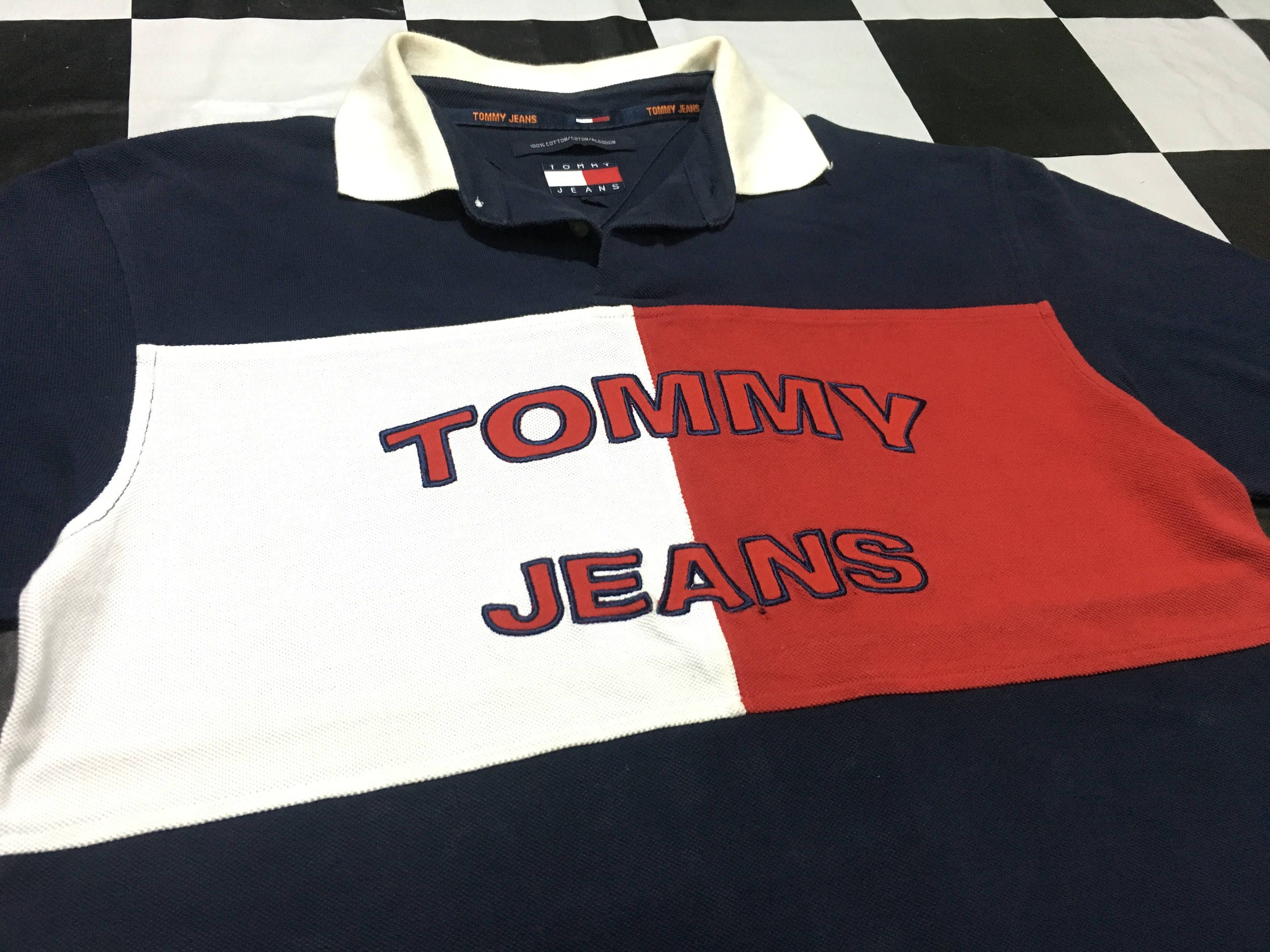 c7b79bc7 Vintage Tommy Jeans polo t shirt full color block big flag logo Size M  Excellent condition Tommy Hilfiger by AlivevintageShop on Etsy