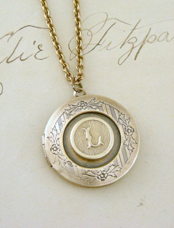 21b535f3cbf7 Locket Necklace Initial Letter L Vintage by chloesvintagejewelry ...