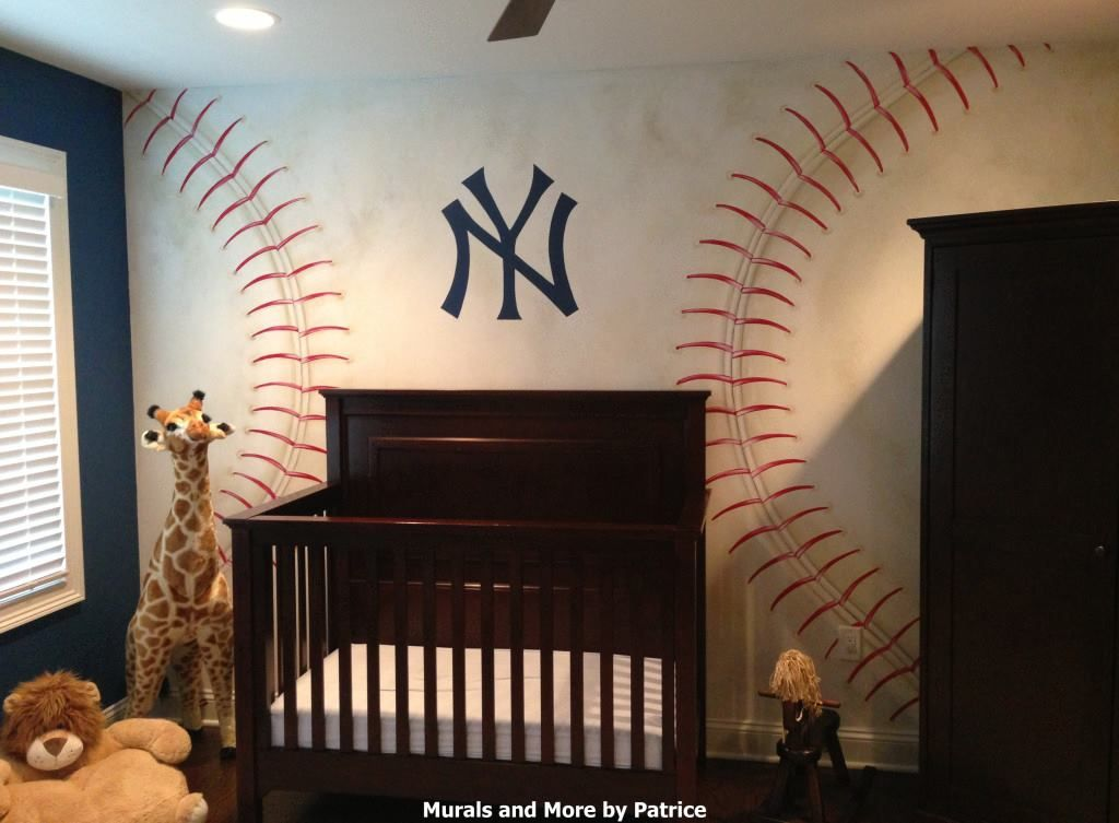 ny yankees nursery featuring hand painted baseball wall mural and lockers with dad   favorite yankee players jerseys also og rh pinterest
