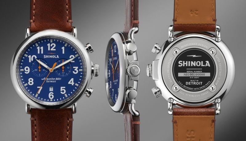 The Runwell Chrono 47mm Dark Brown Leather Strap Blue Dial Watch | Shinola®