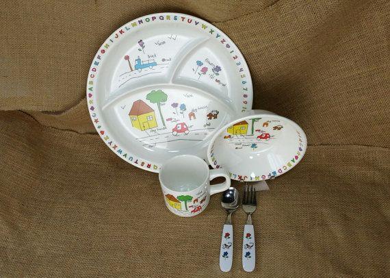 Vintage Anacapa Melamine Ware Childrens Set Plate Cup Bowl Spoon Fork My House Eb Flea Market Finds Decorative Plates Plates