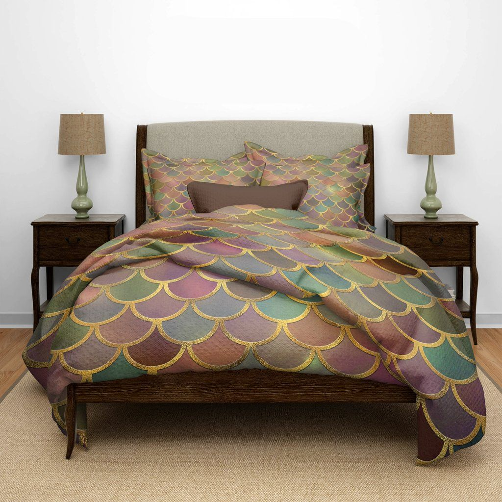 Green & Gold Mermaid Scales Bedding Cheap bed sheets