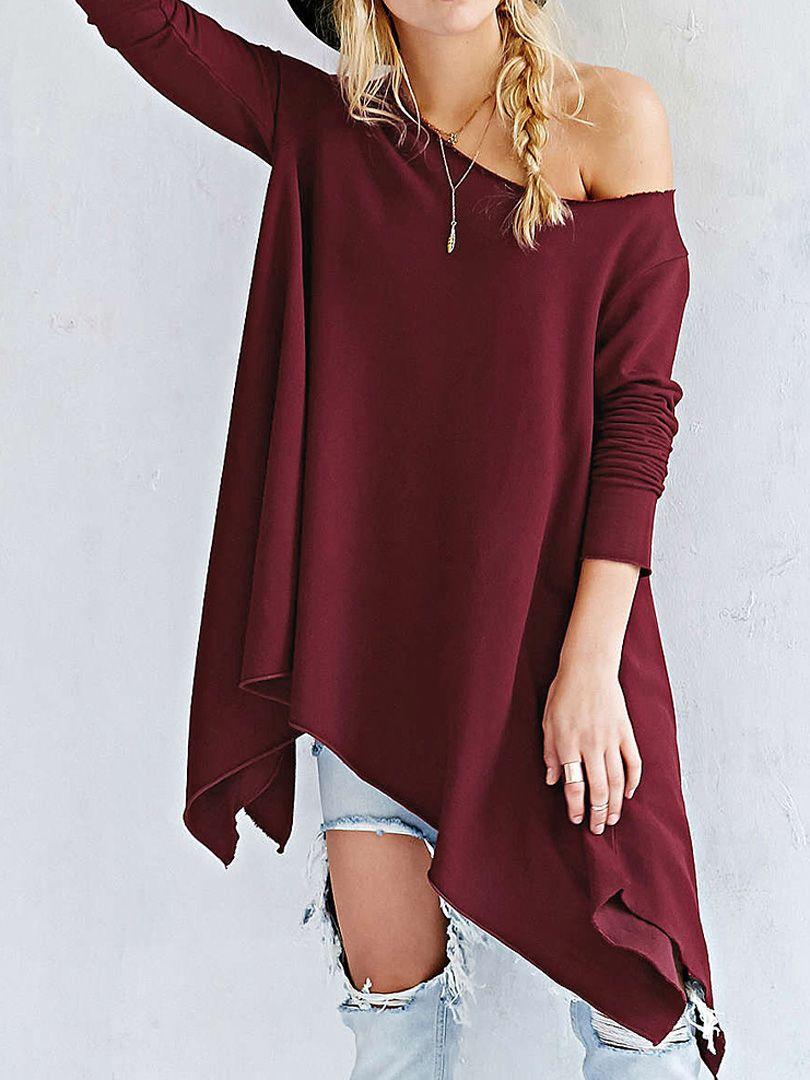 Wine red off shoulder long sleeve asymmetric hem tshirt wishlist