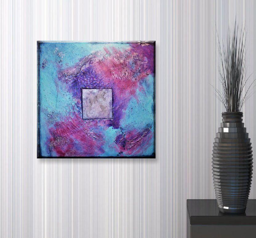 original abstraktes gem lde blau violett silber struktur bild elegant modern schimmernd acryl. Black Bedroom Furniture Sets. Home Design Ideas