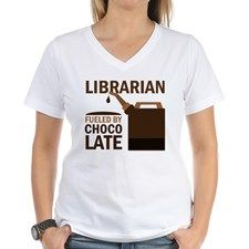 Librarian Fueled By Chocolate Women's V-Neck T-Shi for