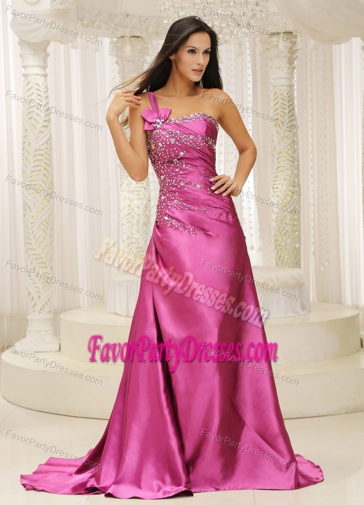 One Shoulder Beaded Satin Train Fuchsia Attractive Cocktail Party ...