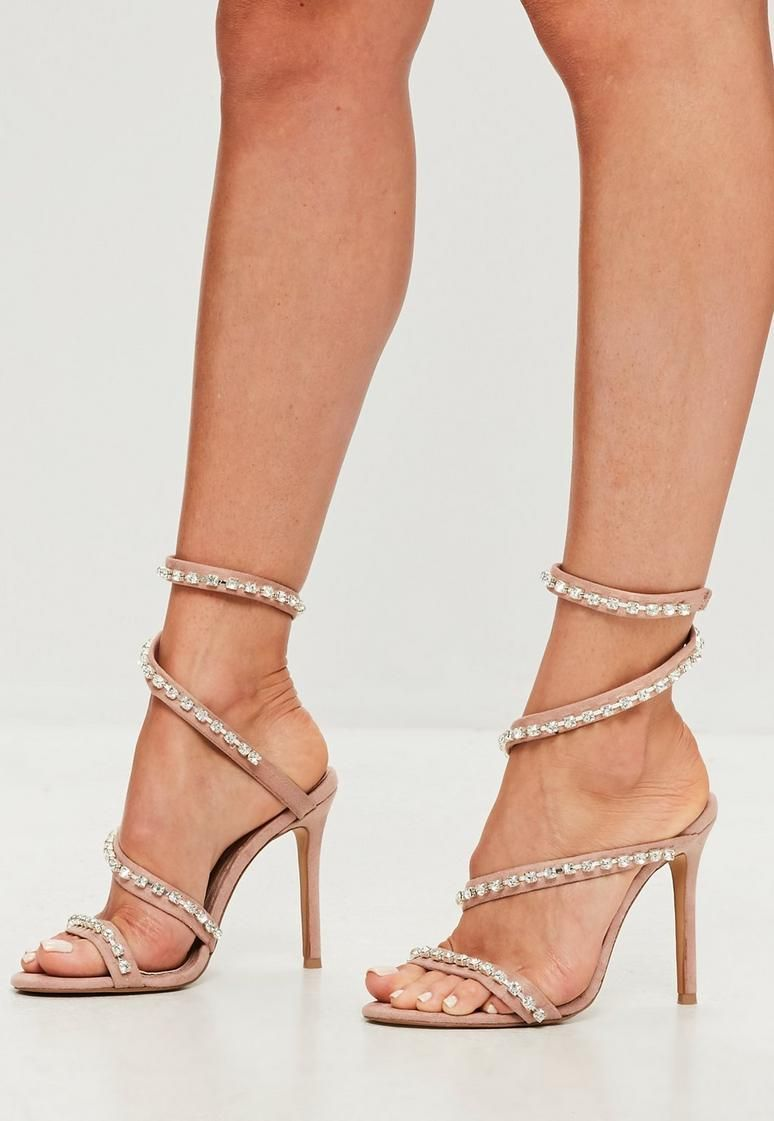 3ec1fd2b799 Carli Bybel x Missguided Nude Jewel Wrap Around Heeled Sandals ...