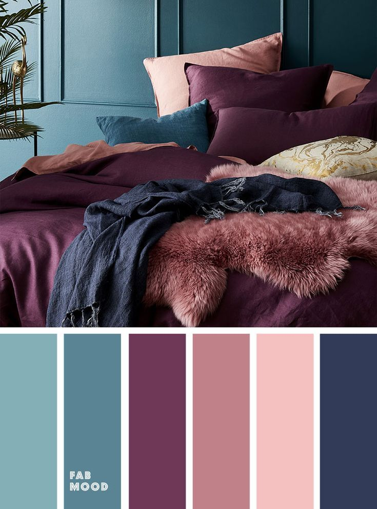 Peach Mauve Purple Navy Blue and Purple Colour Palette for Bedroom #peachideas