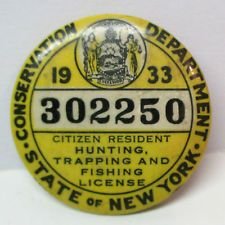 1933 State Of New York Conservation Dept Hunting Trapping Fishing License Pin Fish Fishing Pin Pin