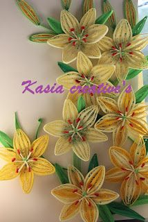 Creative blog: 3D lily flowers (quilling) http://kasiascreatives.blogspot.co.uk/2012/08/3d-lily-flowers.html