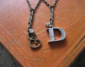 Darling Ephemera - Vintage style Antique Brass Decorative Monogram Necklace with Rhinestone drop