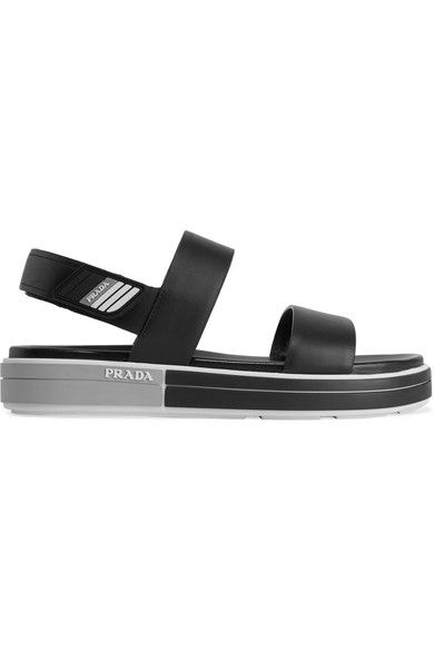 074ef1f30 Prada - Logo-embossed Rubber-trimmed Leather Sandals - Black in 2019 ...