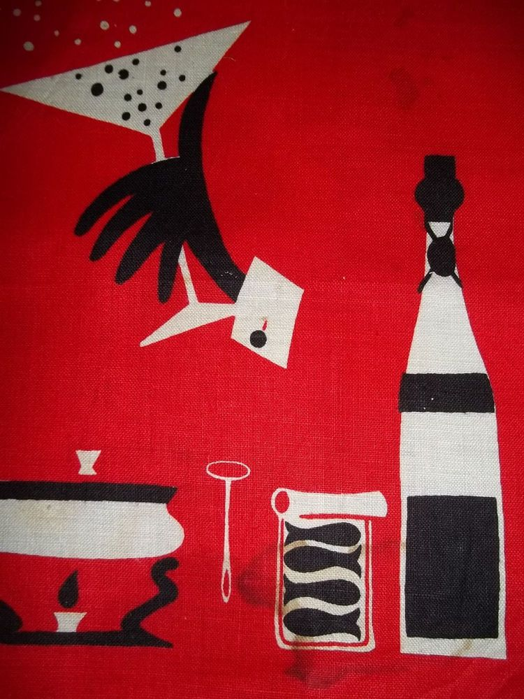 Retro Mid Century Placemat fabric panel Cocktail Fondue Wine Gin Martini Motif