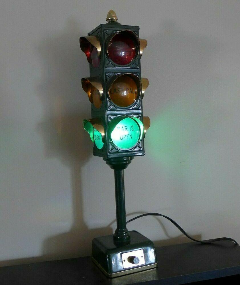 Vtg B B Traffic Signal Stop Light Home Bar Open Last Call Mancave Lamp 1960 S Bb Stop Light Lamp Traffic Signal