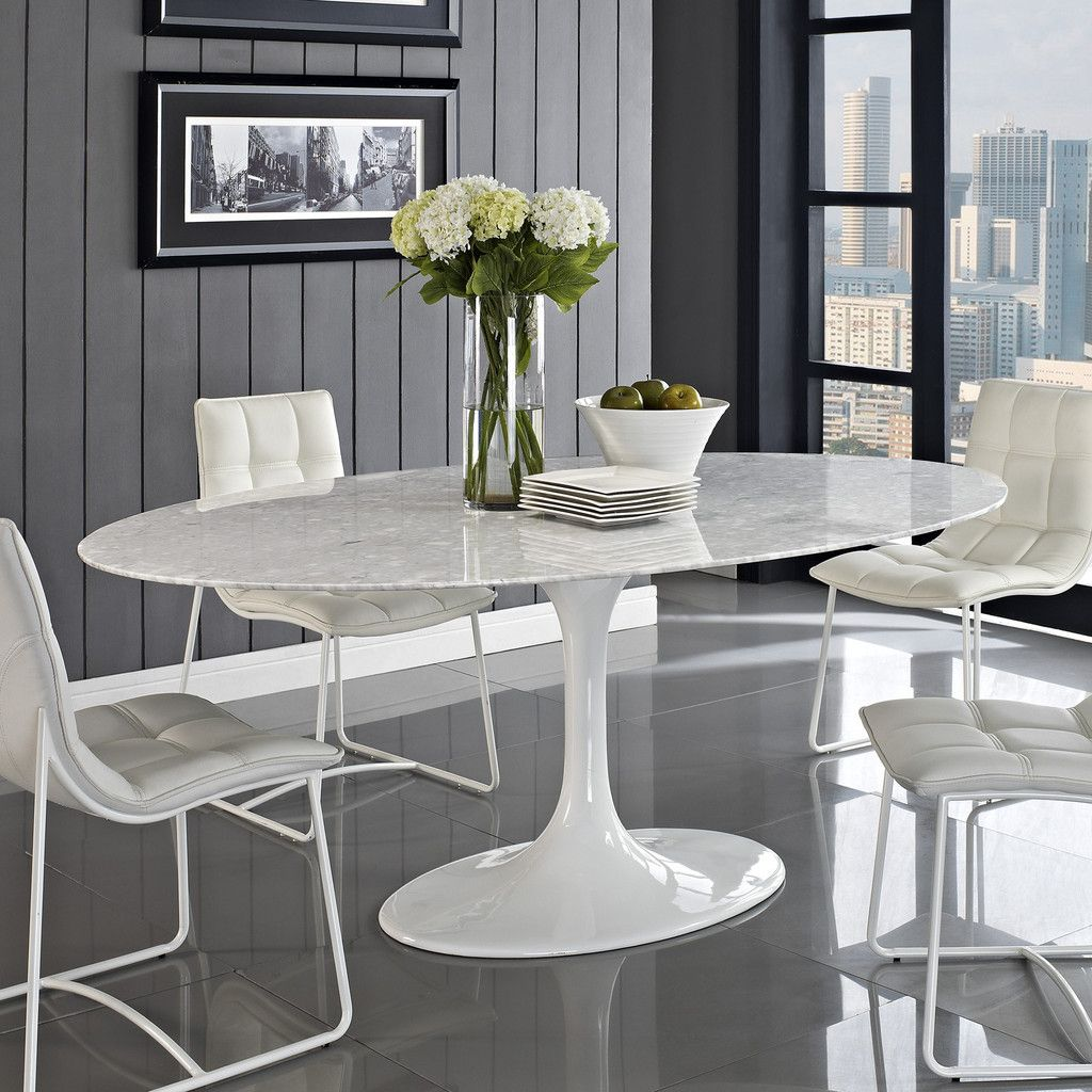 Dining Room, : Astonishing Marble Counter Top Saarinen Oval Dining Table  With Cozy Leather Button Panel Chair