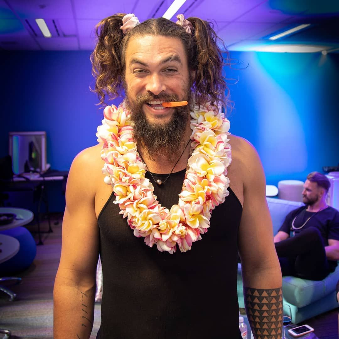 Jason Momoa- The Sexiest Man In Pigtails You'll Ever See