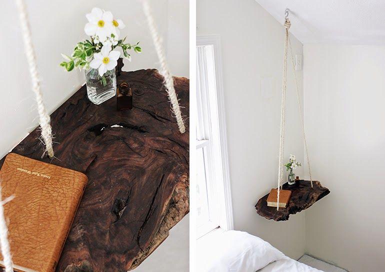 ausgefallener nachttisch selber bauen holzstamm mit seil. Black Bedroom Furniture Sets. Home Design Ideas