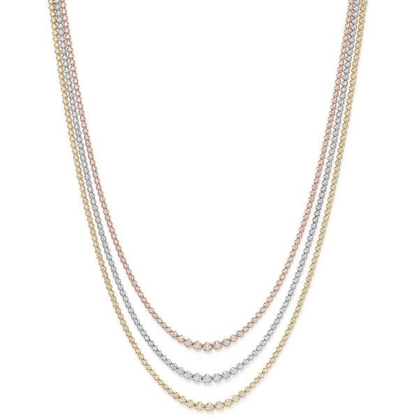 eternity necklace gold line diamond graduated white de