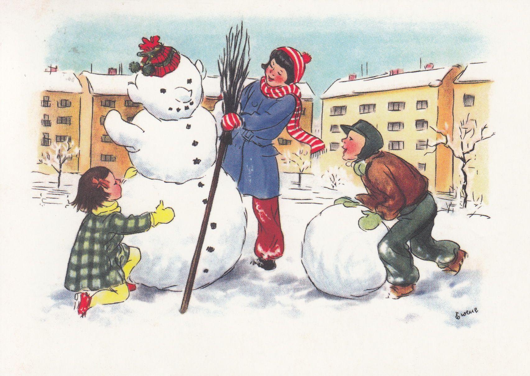 Лепят снеговика картинки для детей