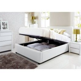 Enjoyable Henley White Leather Ottoman Storage Bed Ottoman Beds Gmtry Best Dining Table And Chair Ideas Images Gmtryco